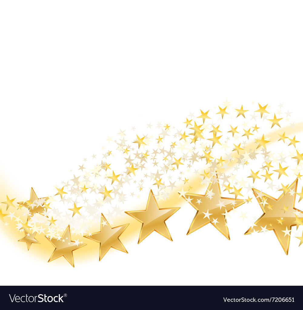 Golden stars flying vector
