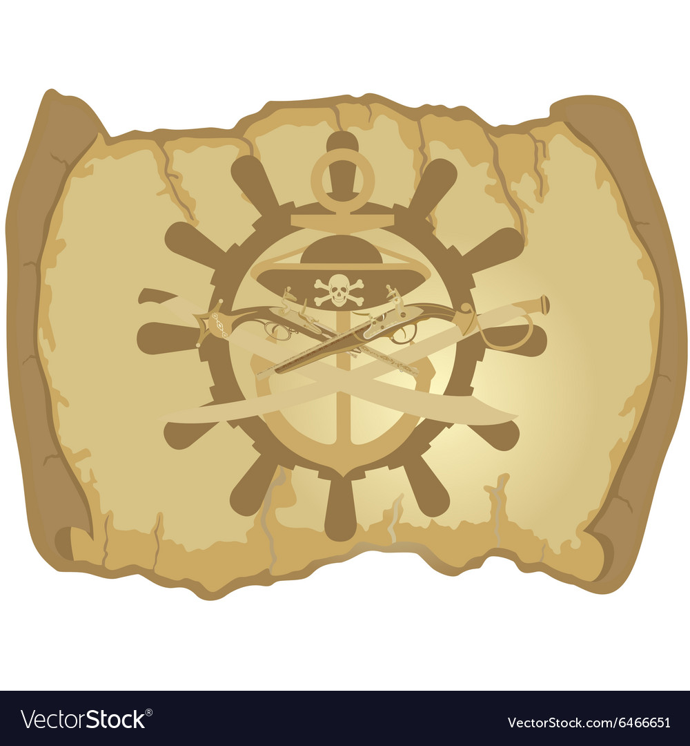 Parchment the ships wheel and ancient weapons vector