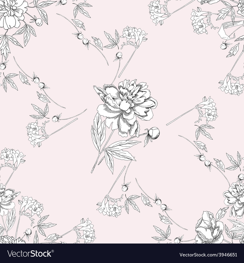 Seamless pattern with bouquet of flowers07 vector