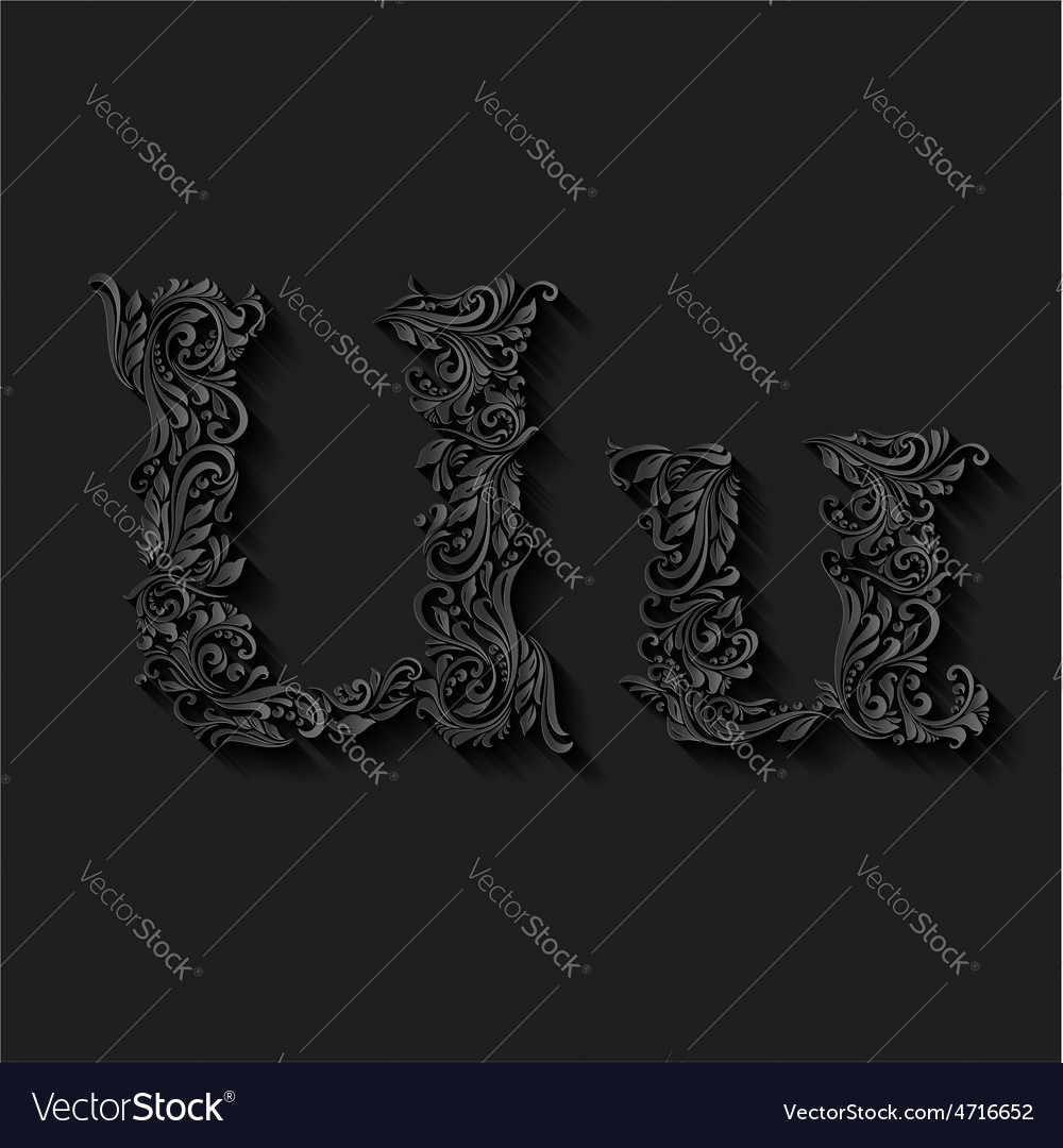 Decorated letter u vector