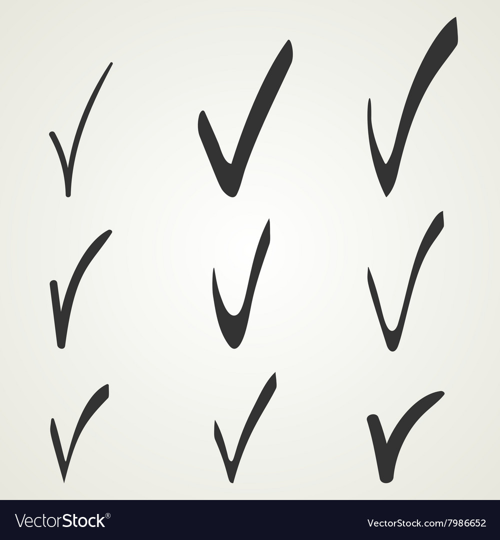 Different checkmark symbol black confirm icons vector
