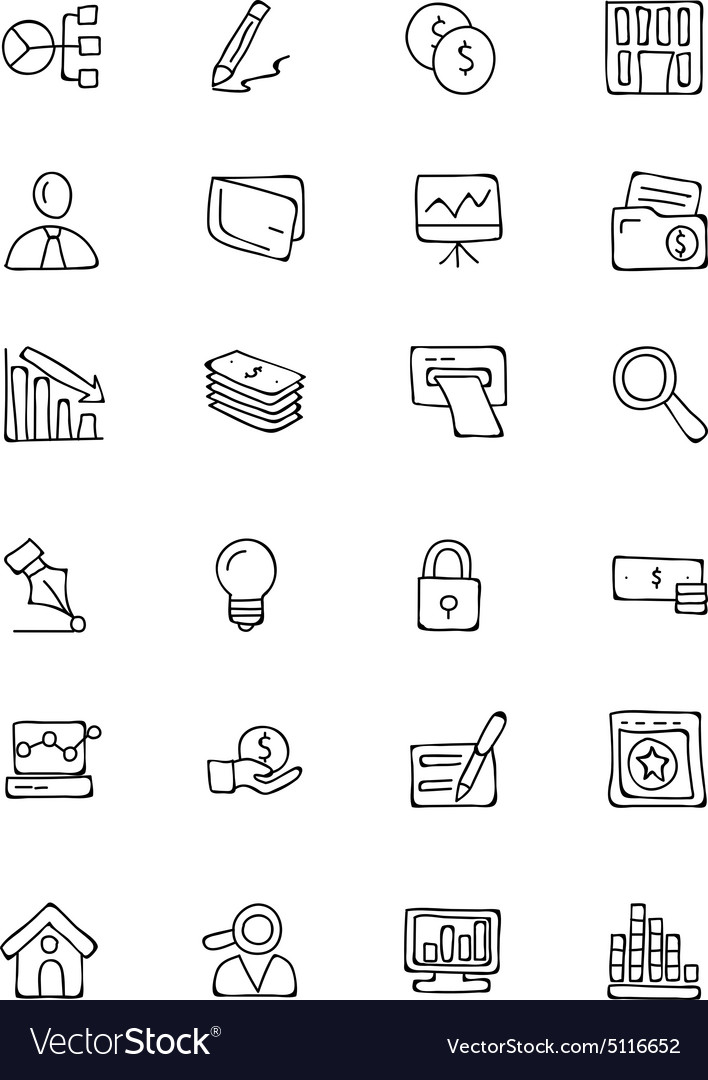 Finance hand drawn doodle icons 6 vector