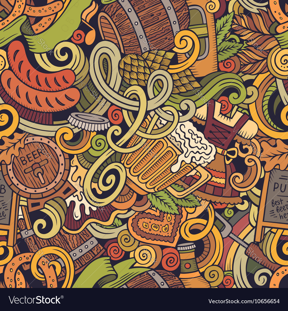 Cartoon cute doodles hand drawn octoberfest vector