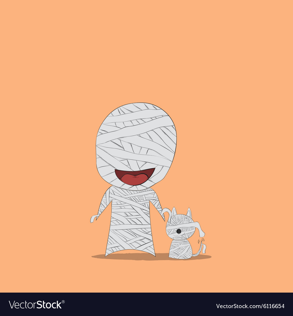 Cartoon mummy and dog vector