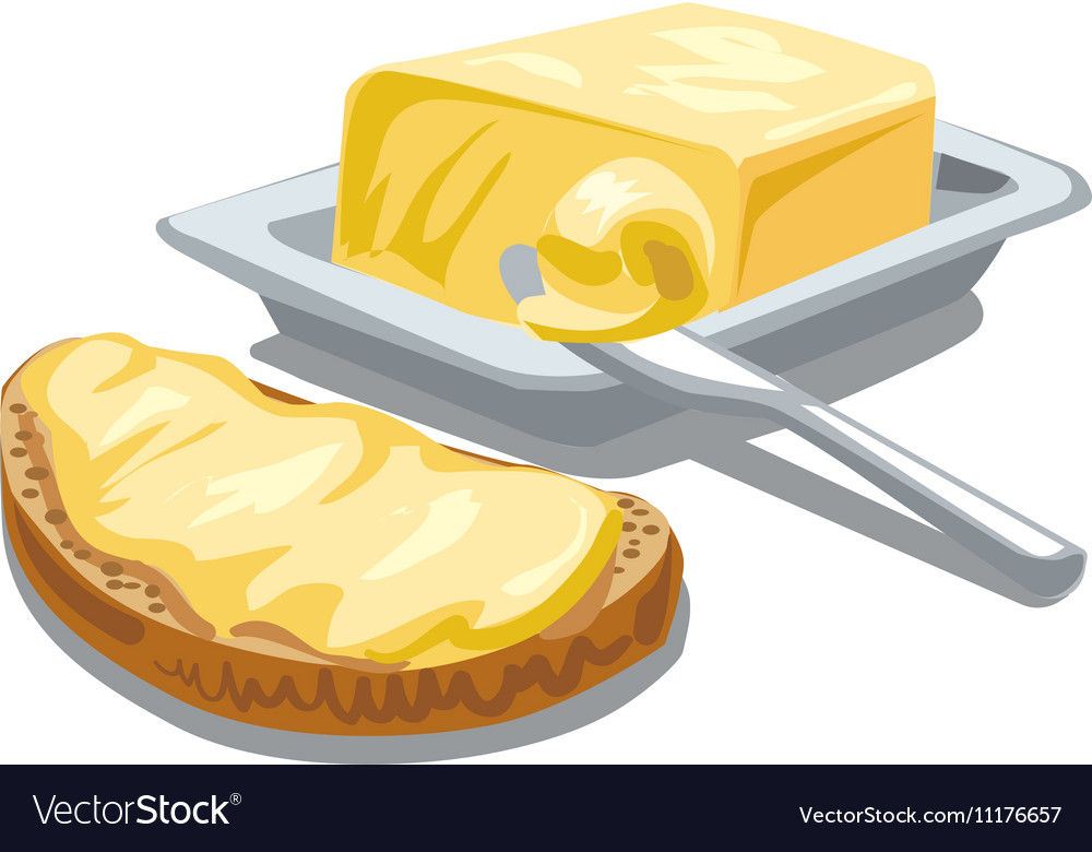 Butter with bread vector