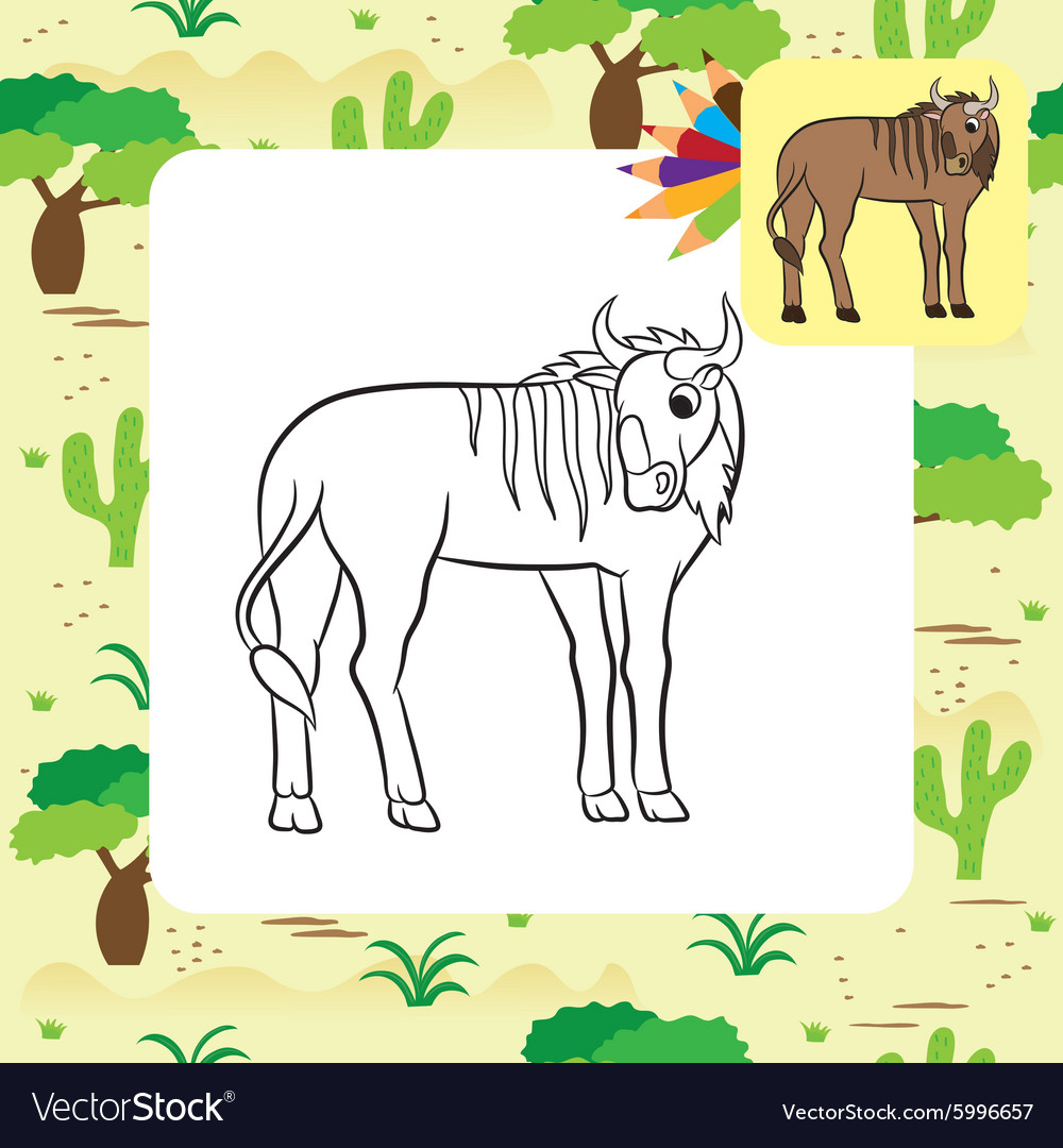 Gnu coloring page vector