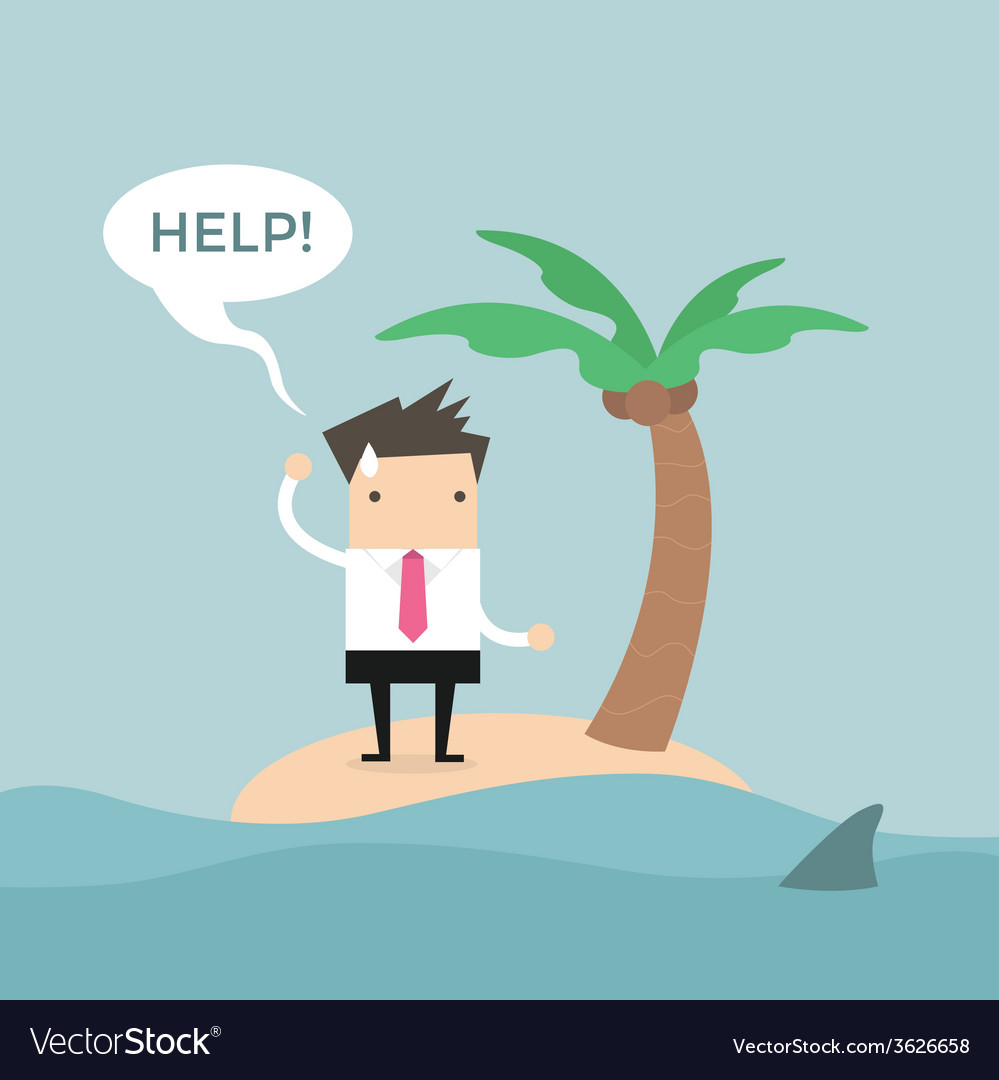 Businessman need help on the small island vector