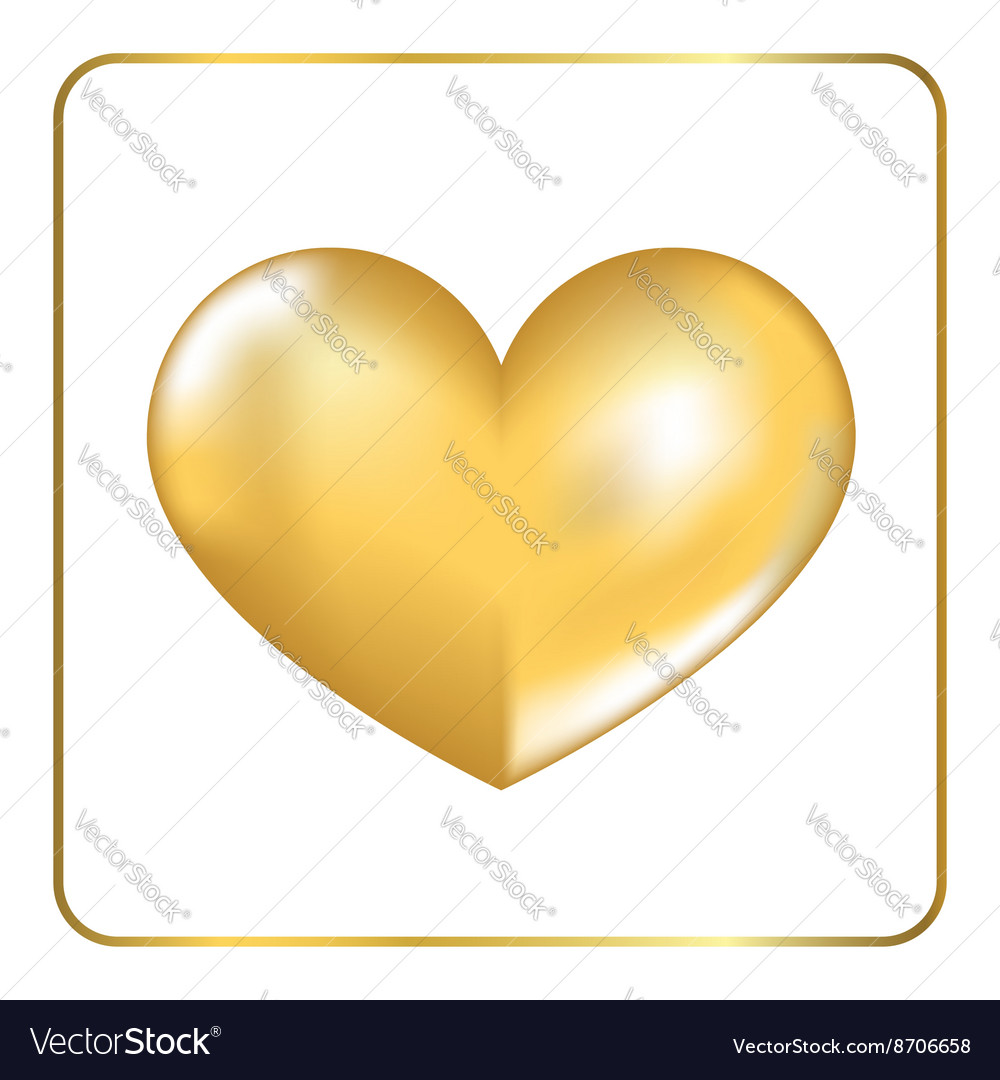 Gold heart 3d 2 vector