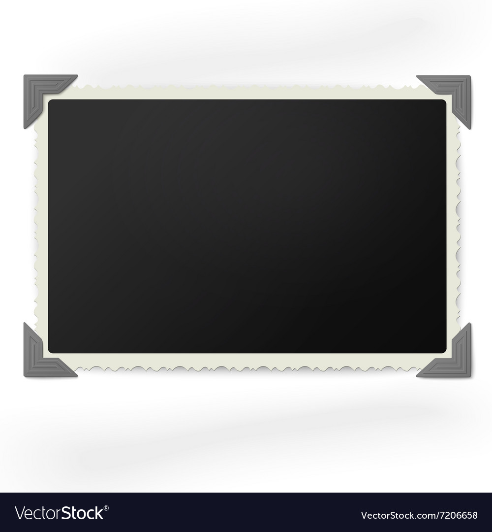 Retro photo frame in vintage photo corners vector