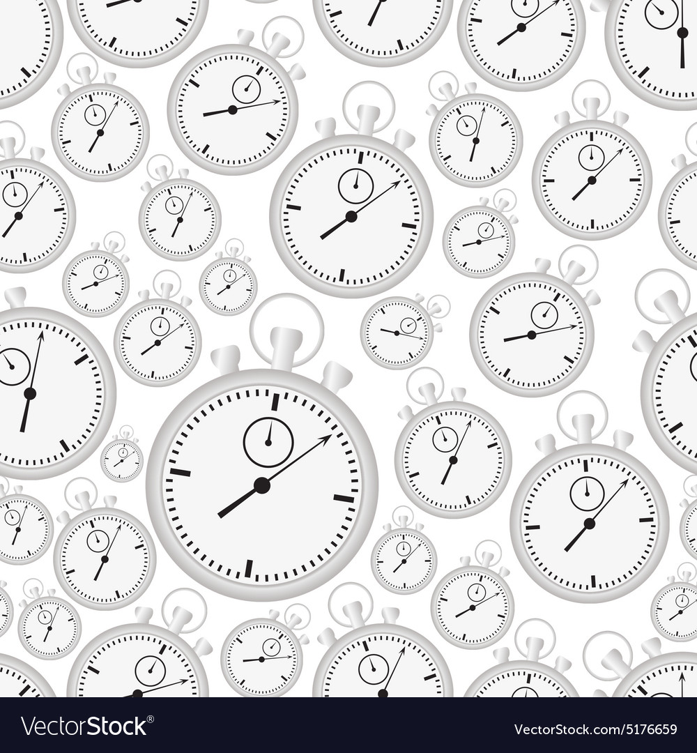 Silver stopwatch case and dials with hands vector
