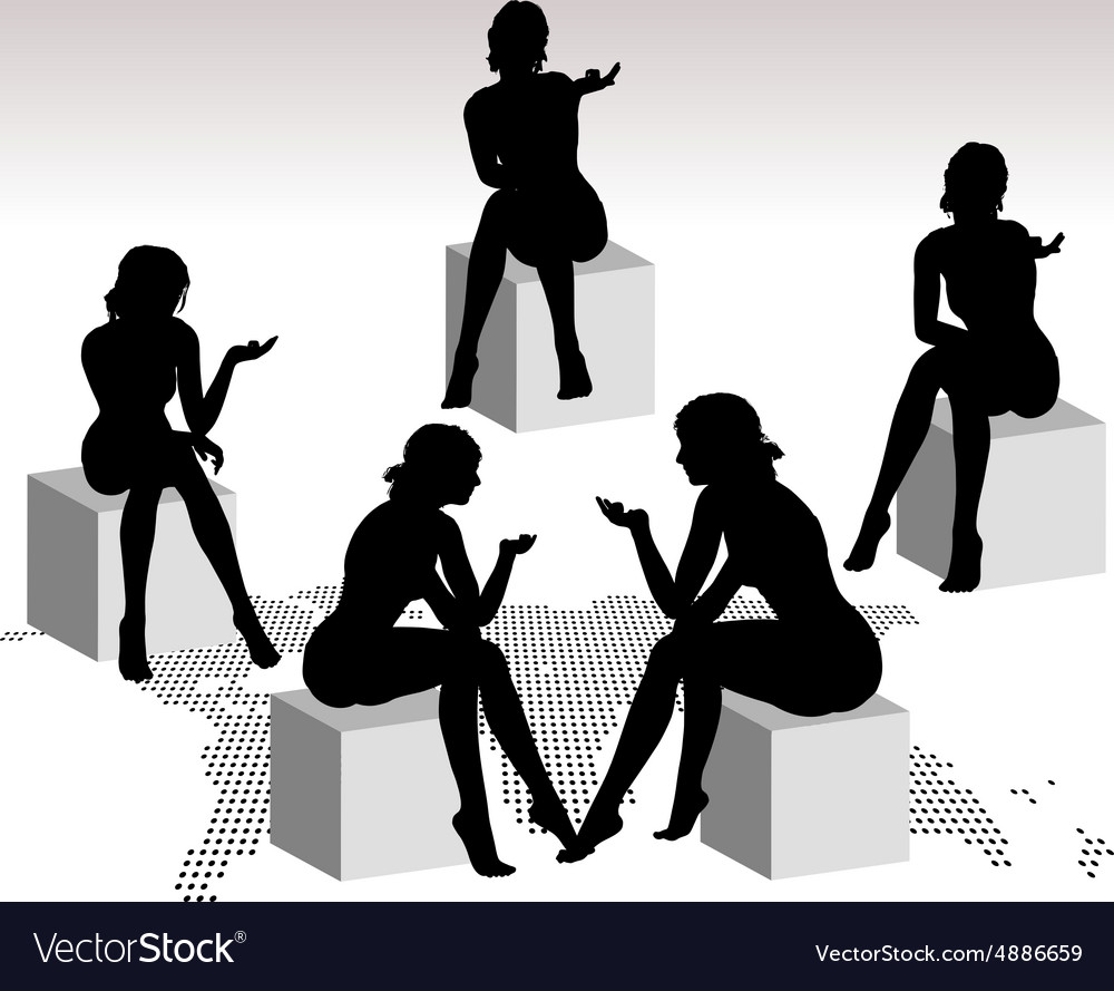 Woman silhouette with hand gesture talking vector