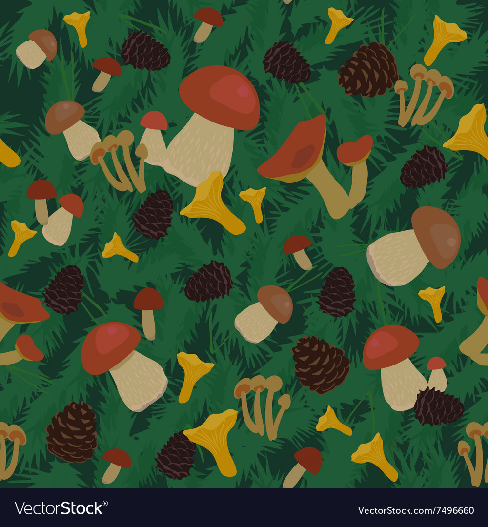 Mushrooms and cones seamless pattern vector
