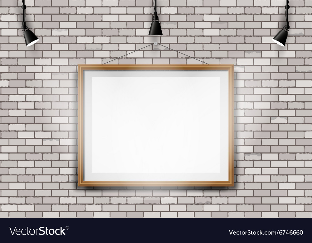 White brick wall picture projector vector