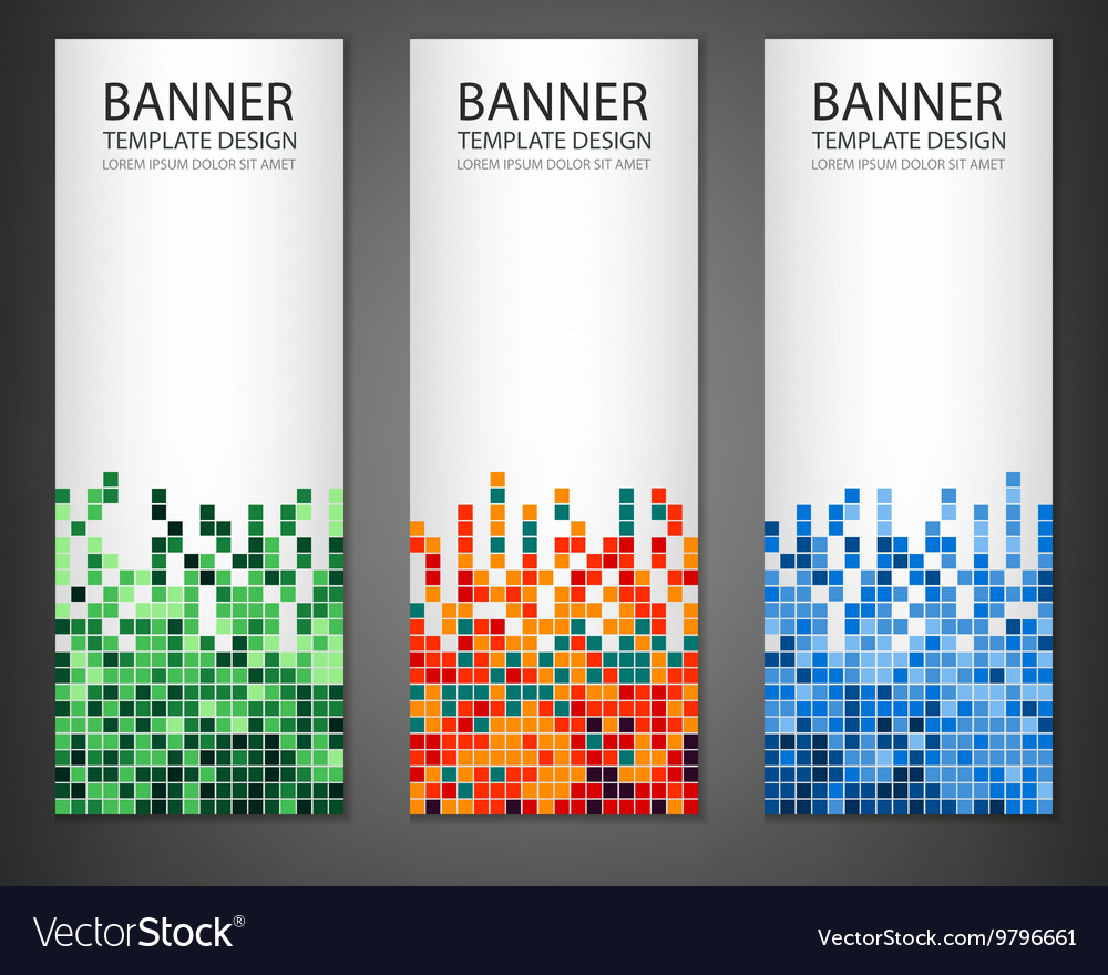 Abstract square pixel mosaic banners set vertical vector