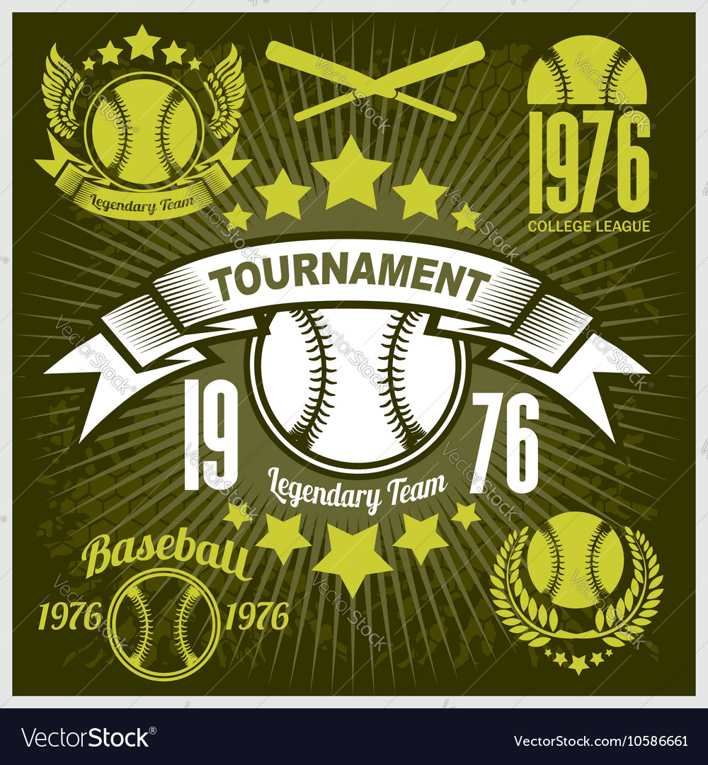 Baseball tournament emblem for tshirt vector