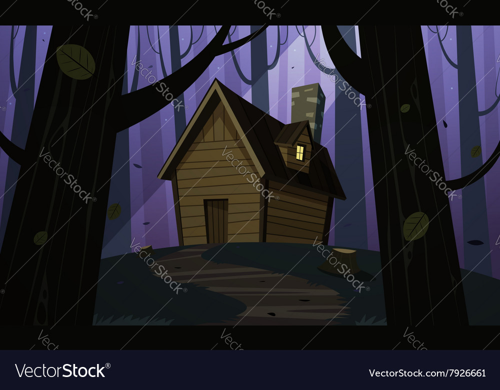 Cabin in woods  night vector