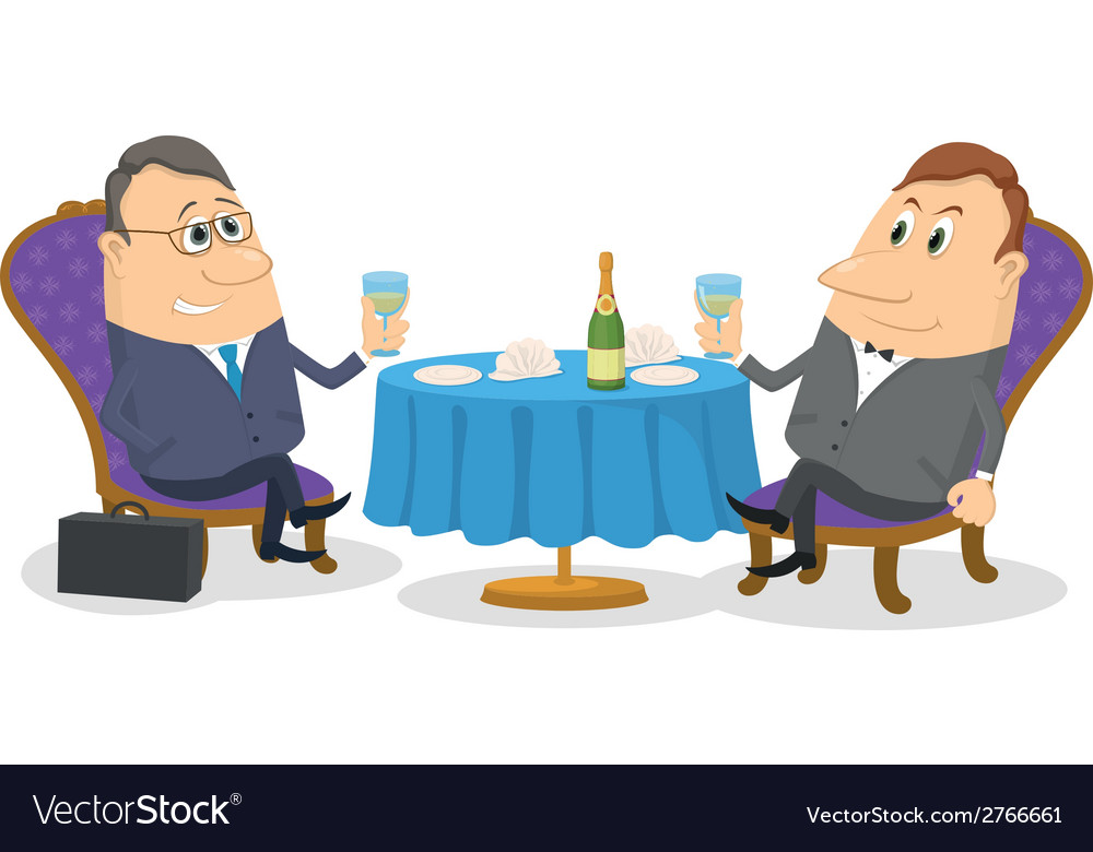 Two businessman near table isolated vector