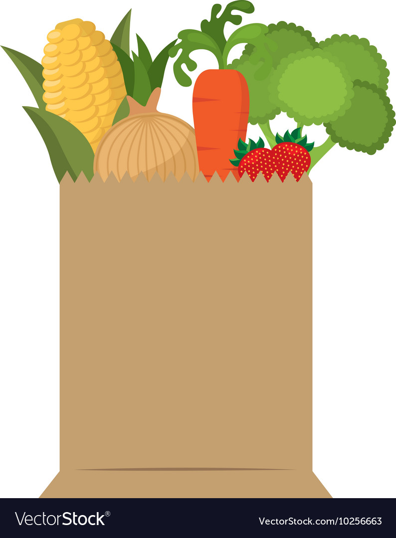 Bag shopping with vegetables vector