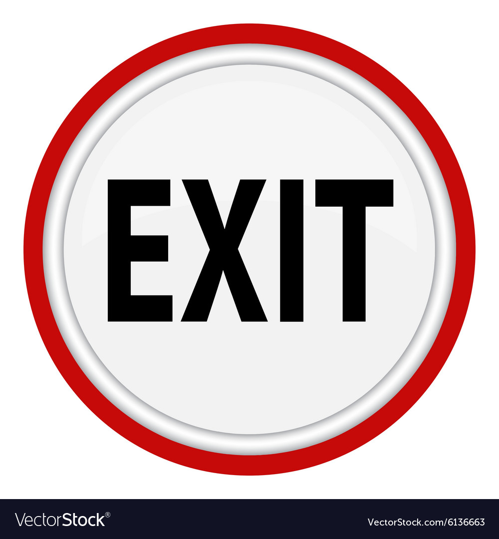Icon with the word exit vector
