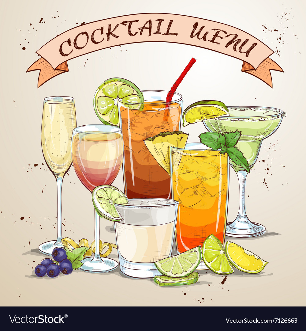 New era drinks coctail menu vector