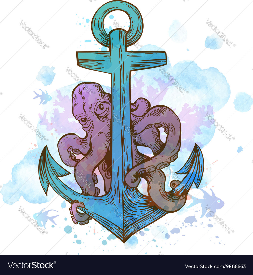 Vintage hand drawn anchor and octopus vector