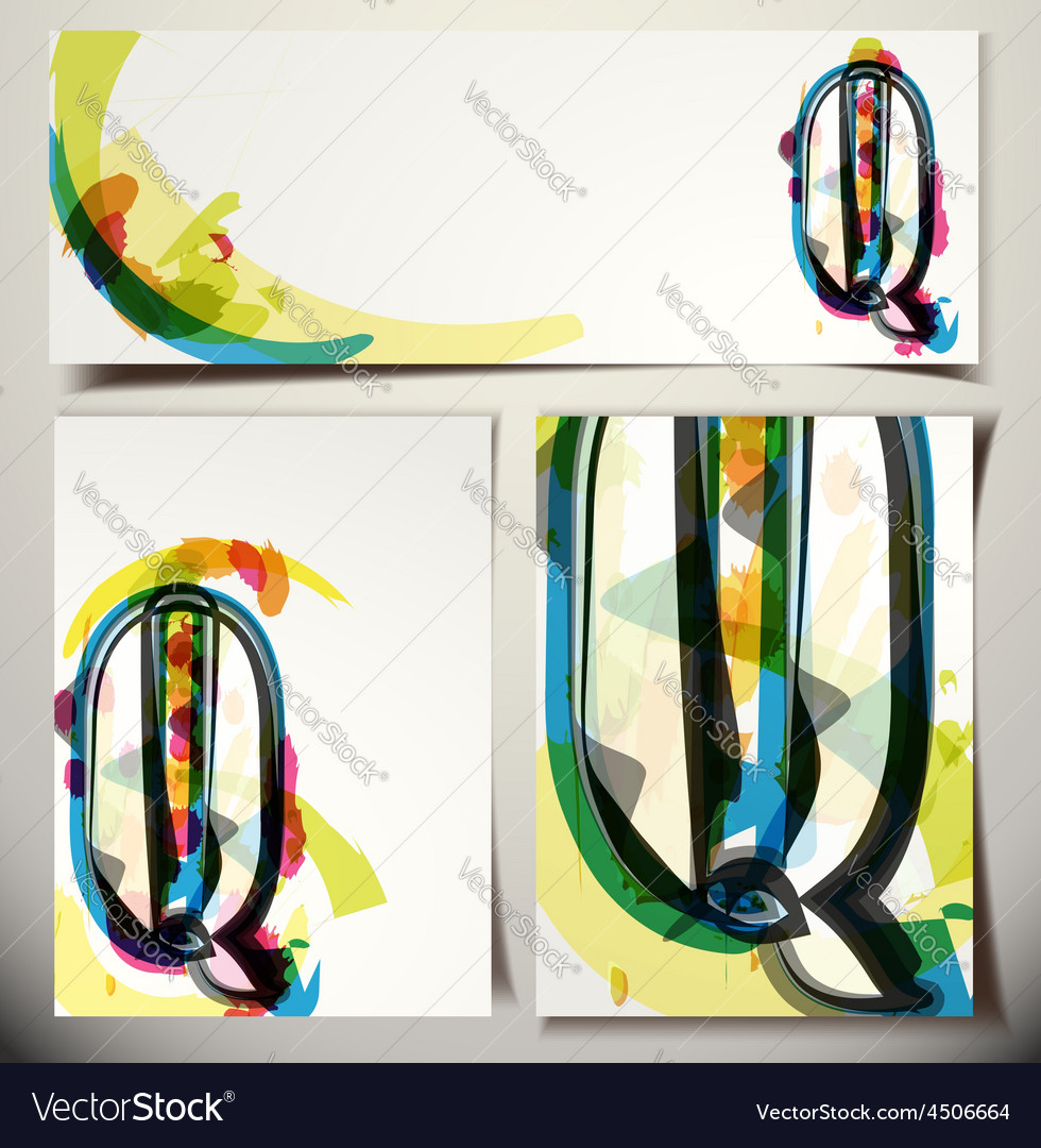 Artistic greeting card letter q vector