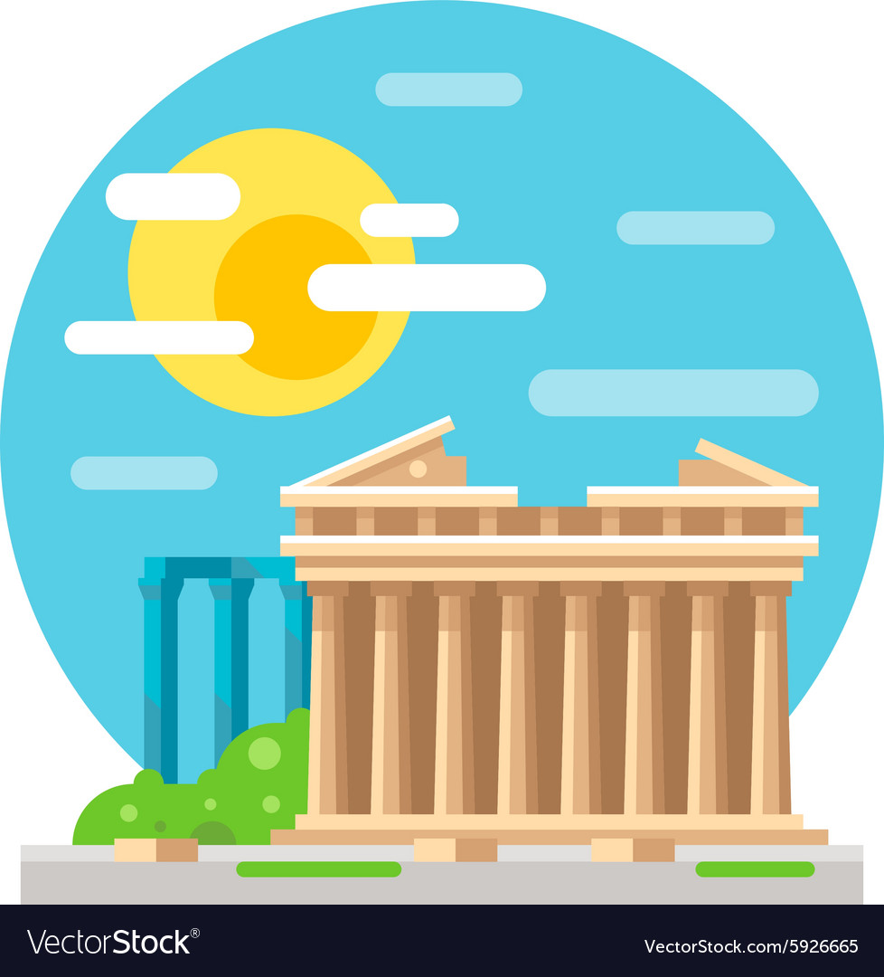 Parthenon flat design landmark vector