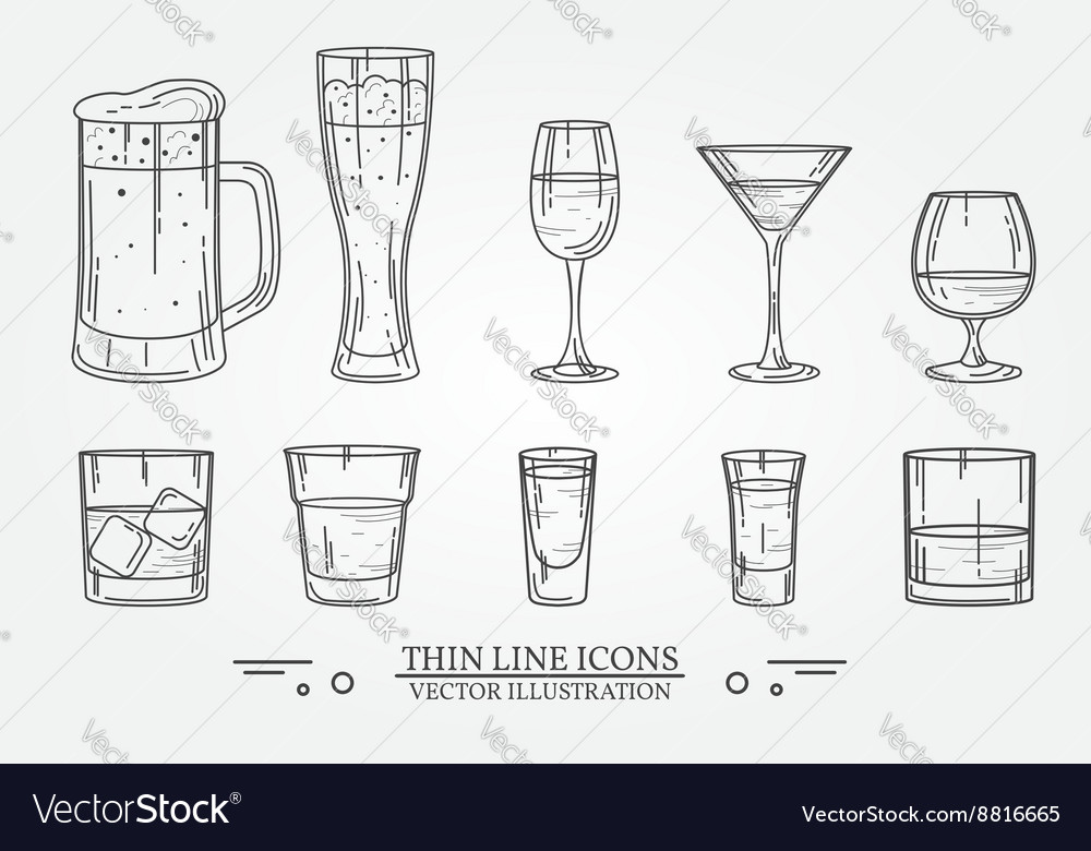 Set drink alcohol glass for beer whiskey wine vector