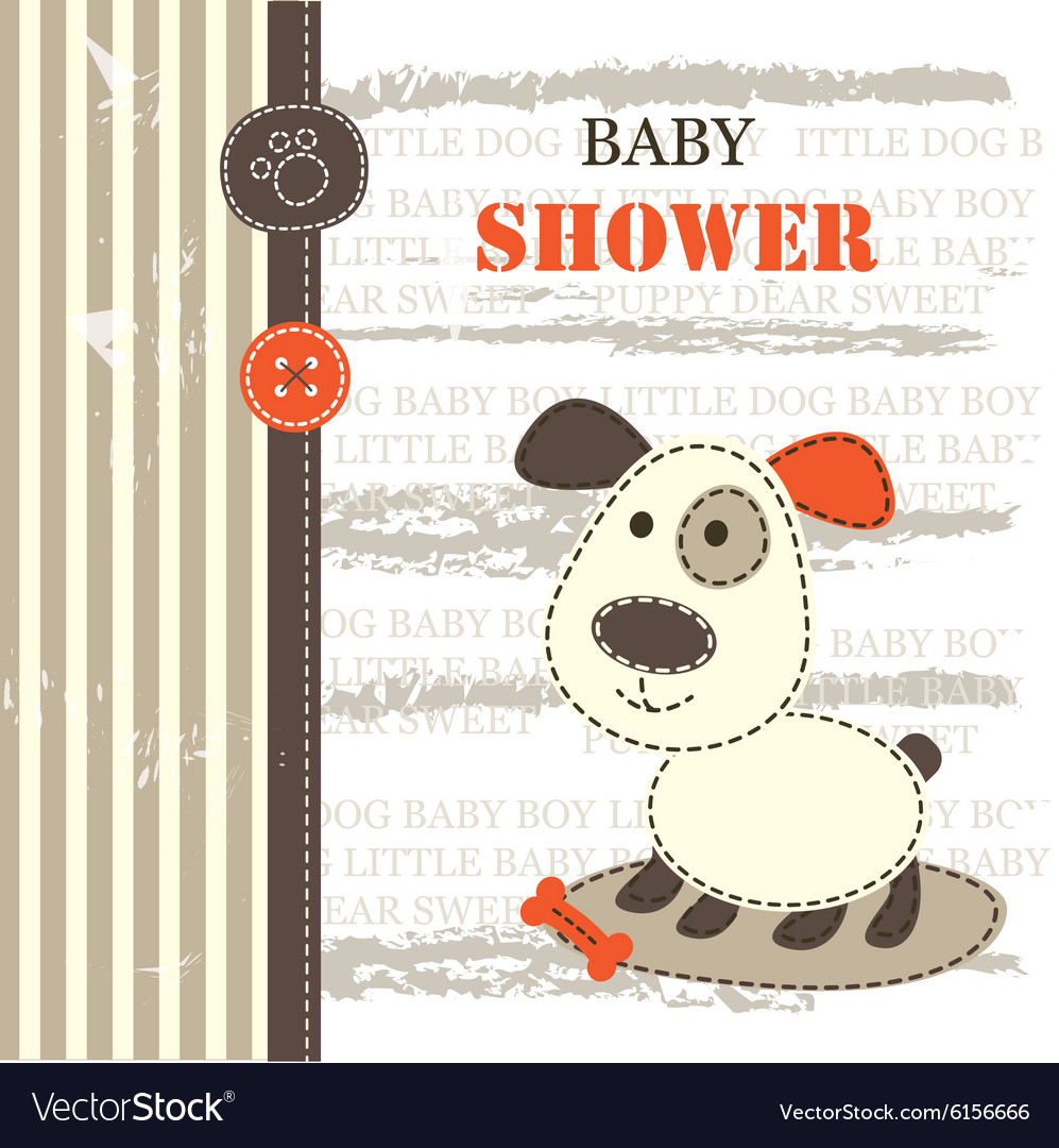 Baby shower with dog vector