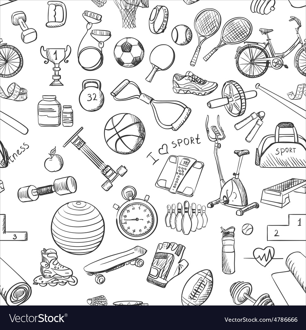 Hand drawn fitness sport doodle pattern vector
