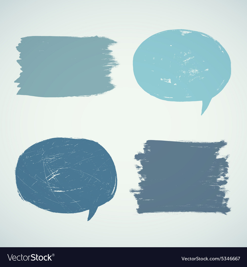 Set of grunge speak bubbles vector