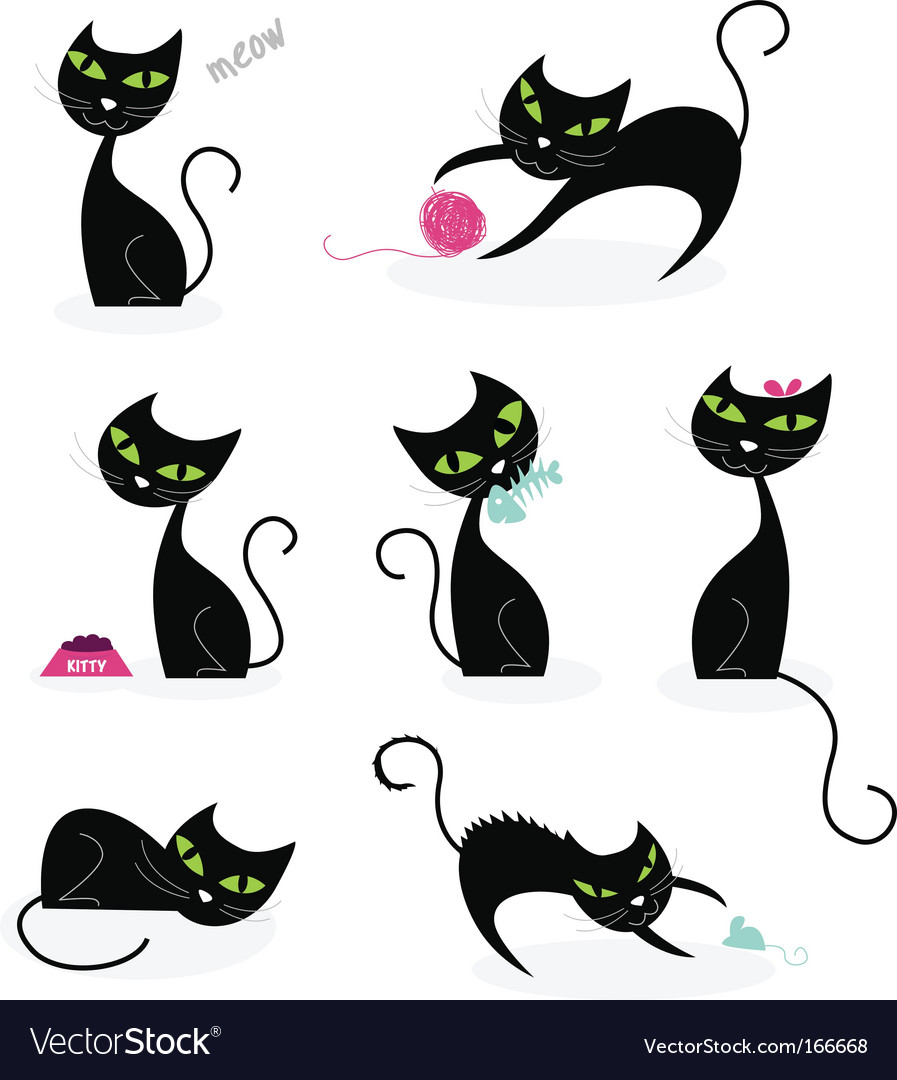 Black cat silhouettes vector