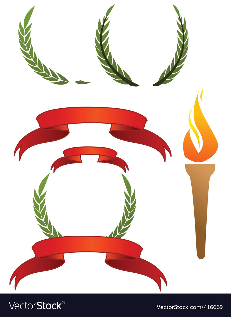 Ribbons and laurels vector