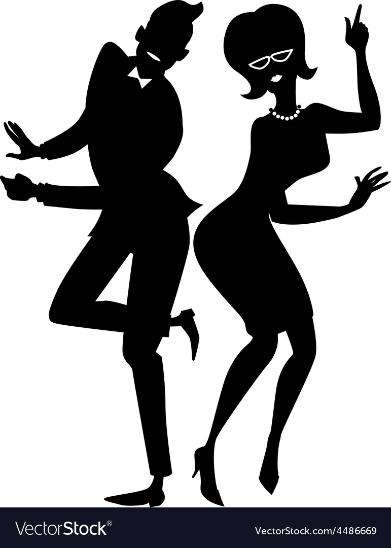 Twist couple silhouette vector