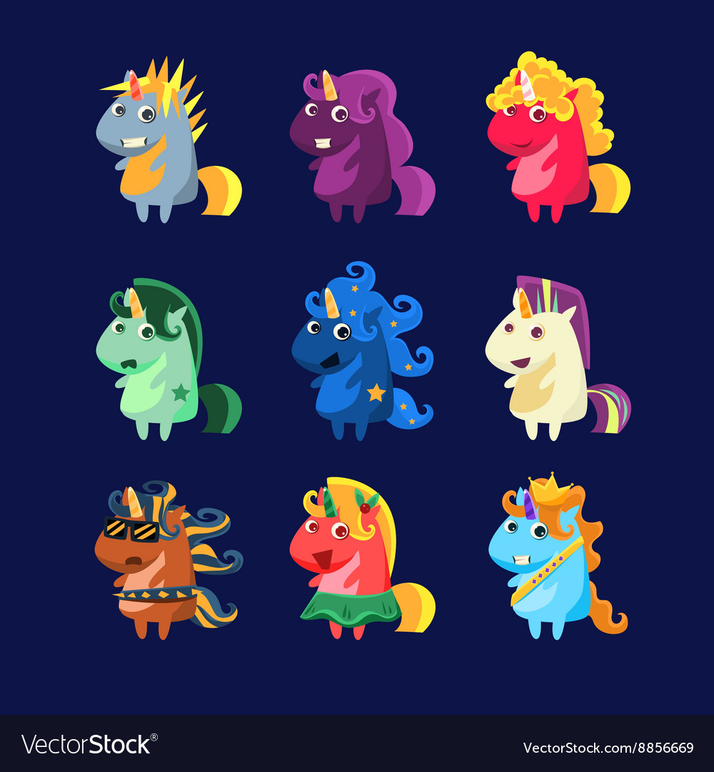 Unicorns in costumes set vector