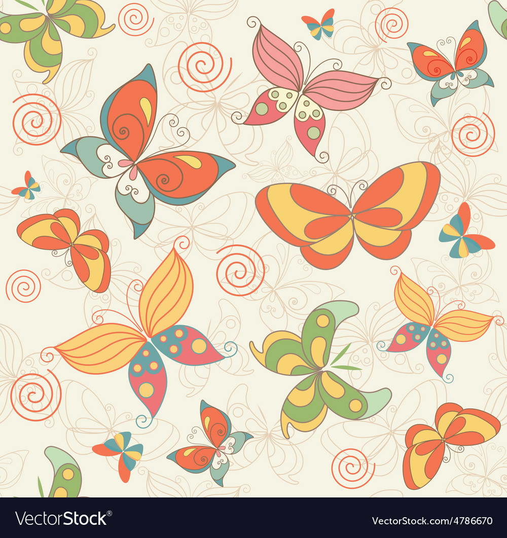 Seamless summer background with butterflies vector