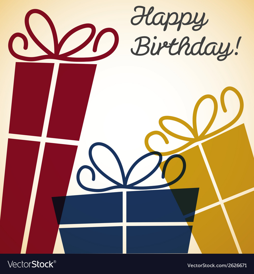 Bright retro present card in format vector