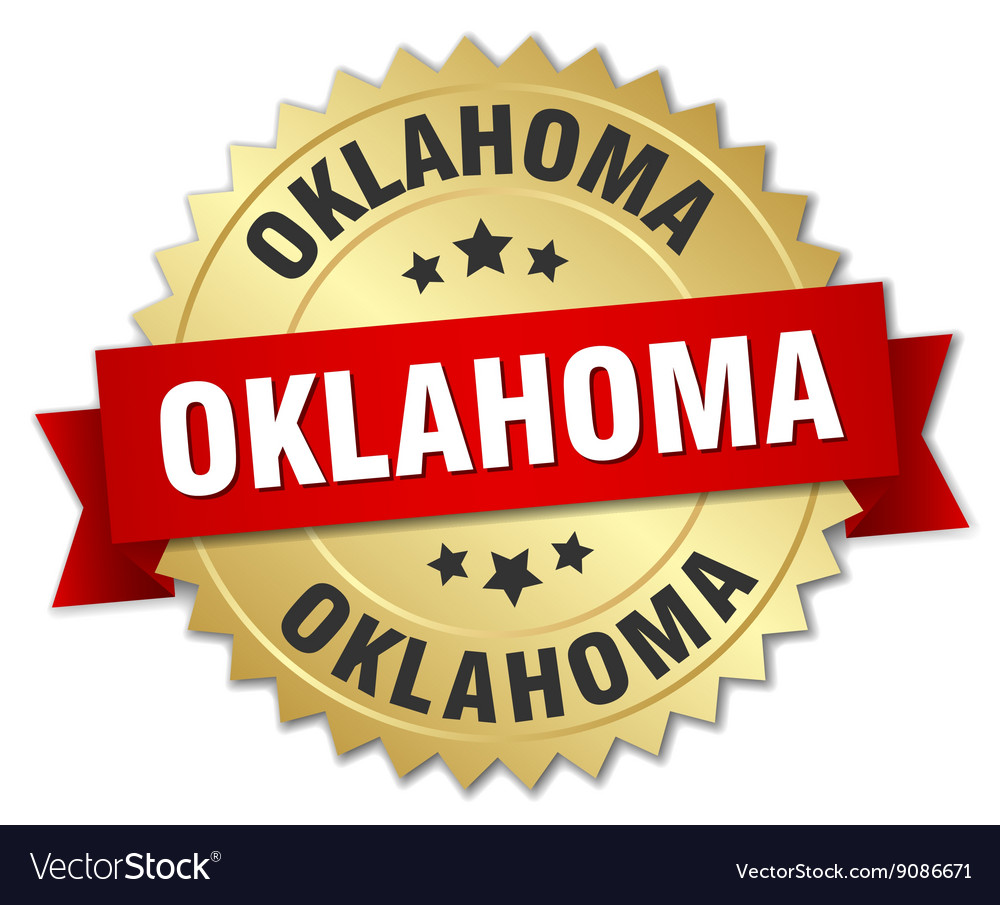 Oklahoma round golden badge with red ribbon vector