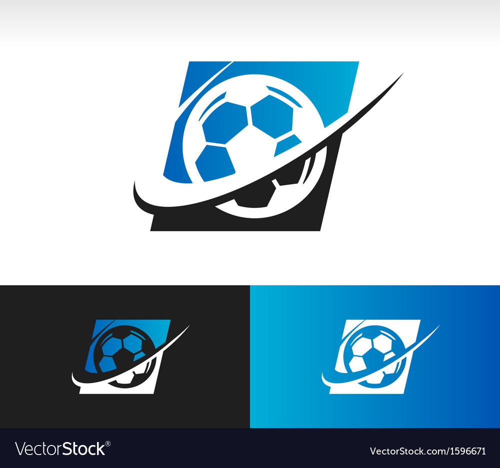 Swoosh soccer ball logo icon vector