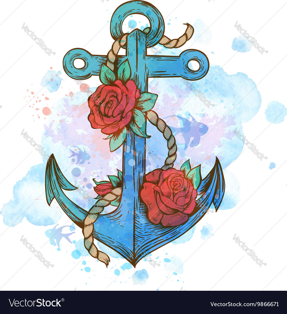 Vintage hand drawn anchor and red roses vector