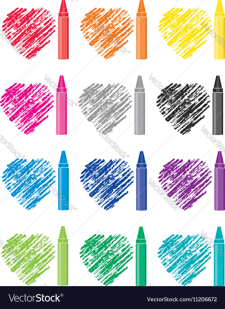 Crayons and heart drawings vector