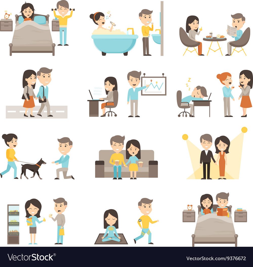Daily routine people set vector