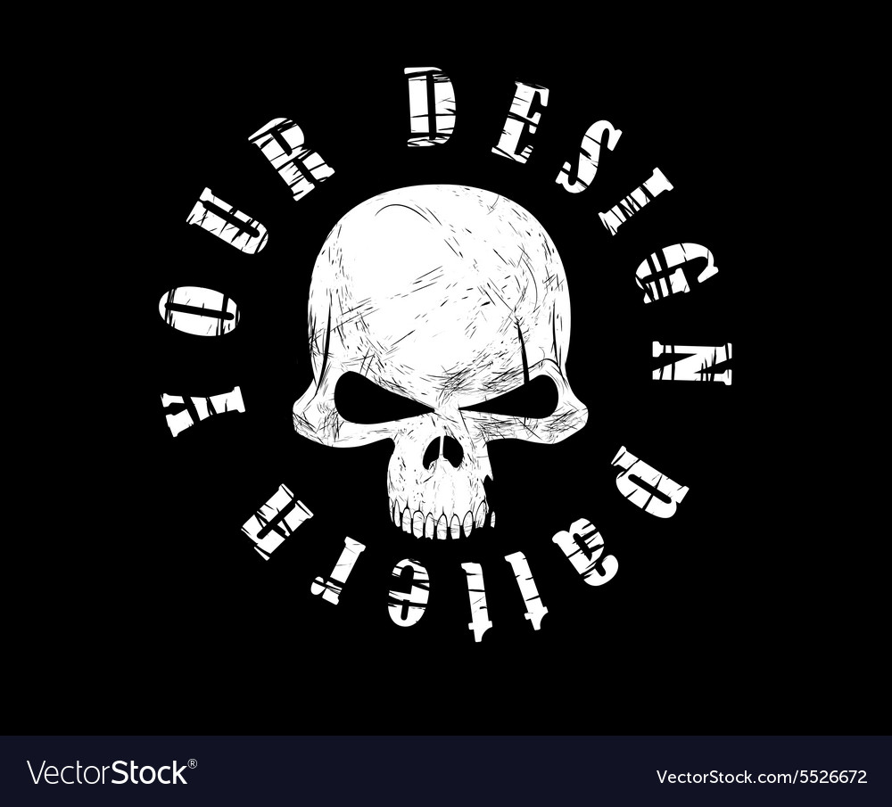 Design for tshirt print with skull and textures vector