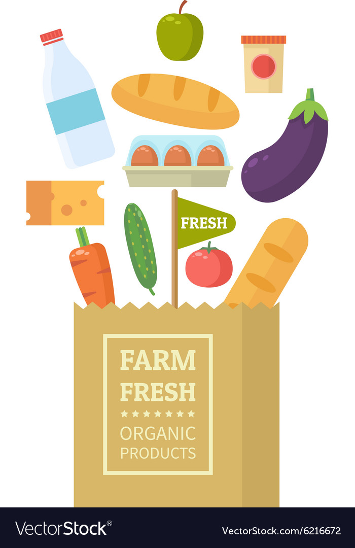 Package with fresh produce vector