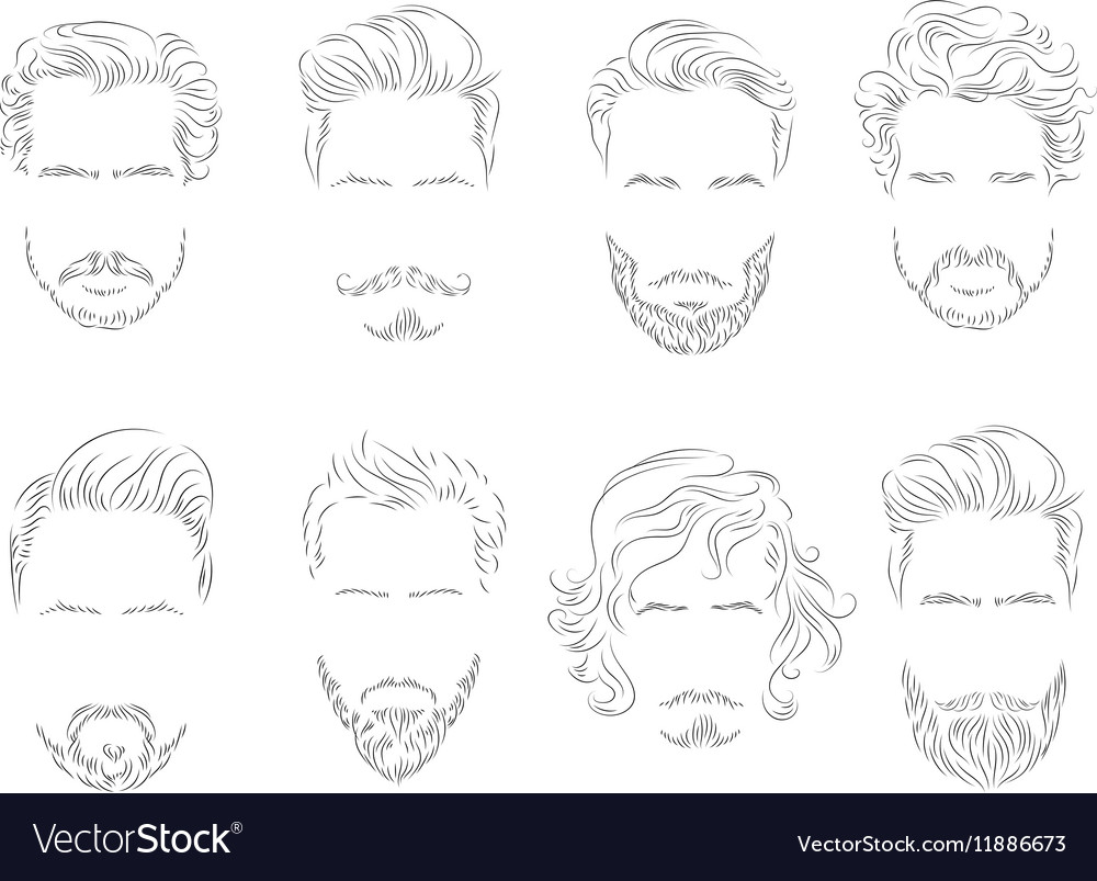 Set beard hair mustache man silhouette vector