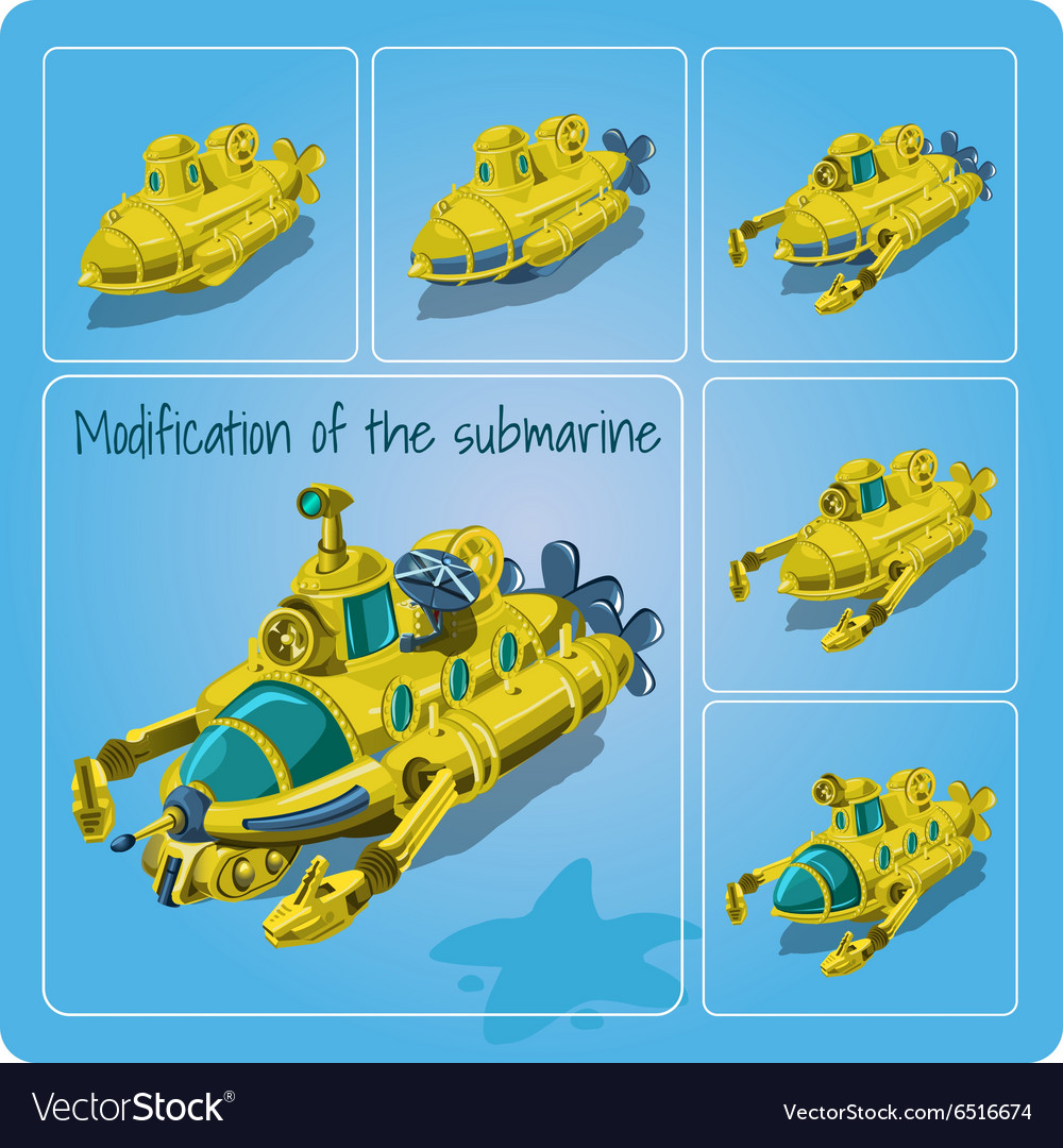 A set of different submarines vector