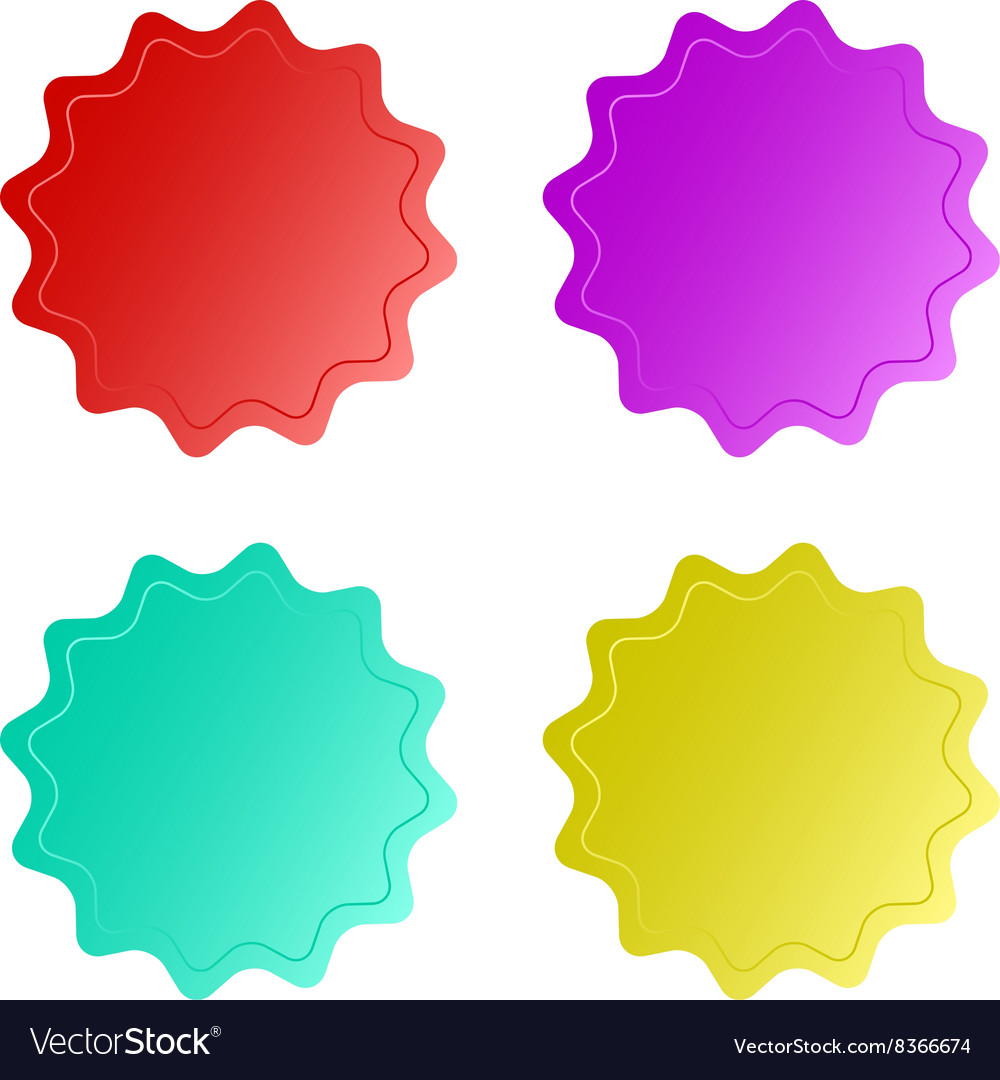 Four empty multicolored glossy round stickers with vector