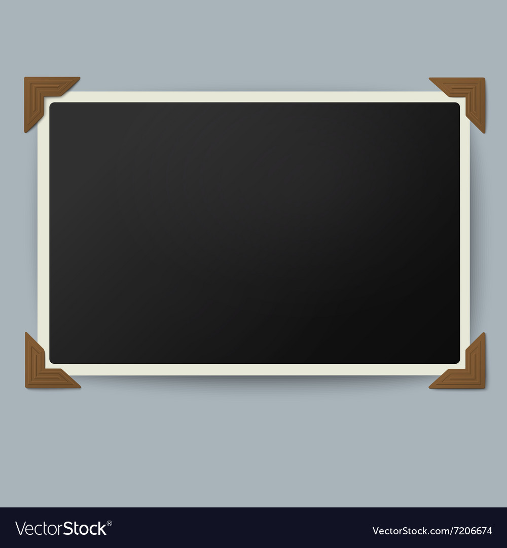 Retro photo frame with straight edges vector