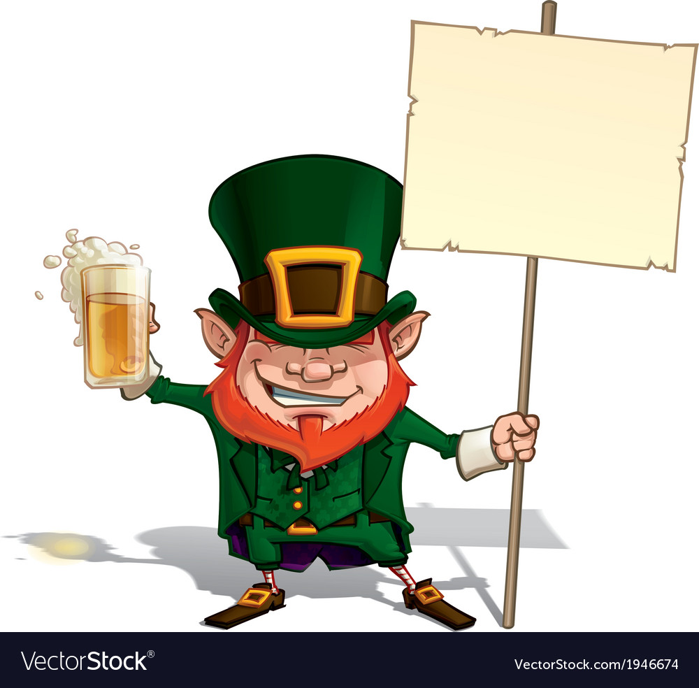 St patrick holding a placard vector