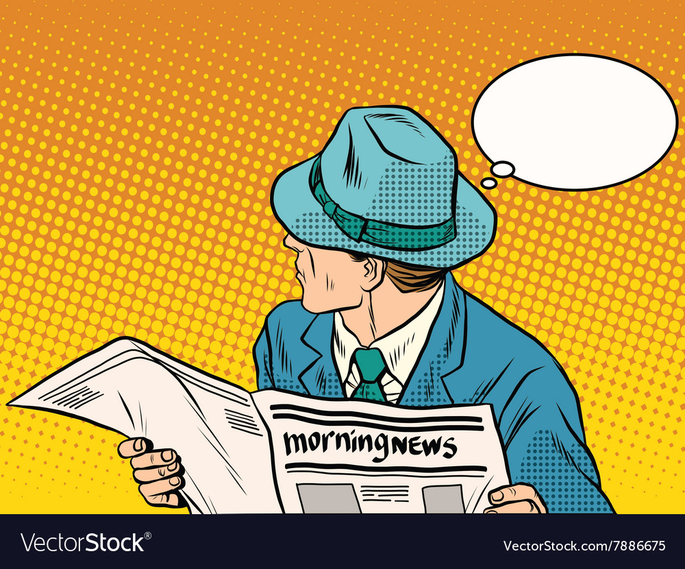 Retro man reading the morning news vector